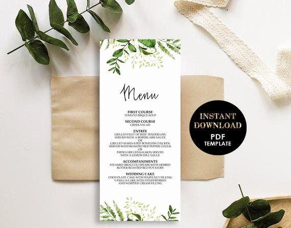 Bridal Shower Menu Template Lovely Greenery Wedding Menu Printable Template Bridal Shower