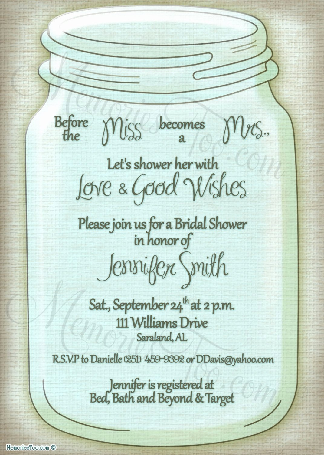 Bridal Shower Menu Template Lovely Mason Ball Jar Invitation Diy Printable Choose Your by