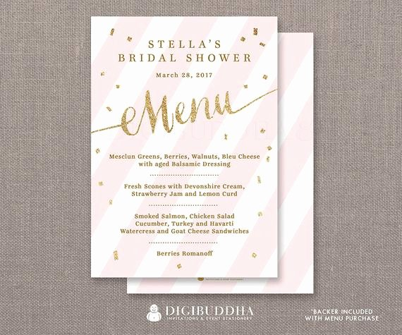 Bridal Shower Menu Template Lovely Pink & Gold Menu Bridal Shower Party Menu Pink Stripes Gold