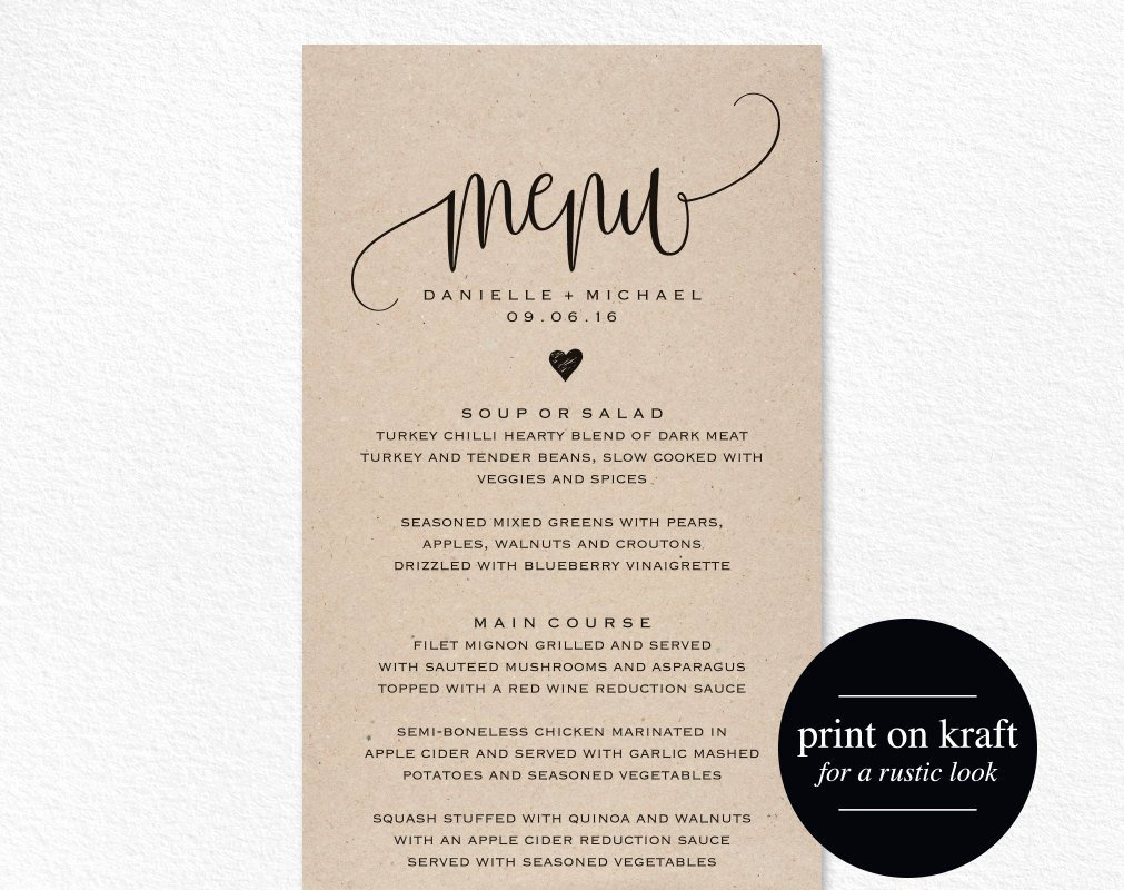 Bridal Shower Menu Template Luxury Rustic Wedding Menu Wedding Menu Template Menu Cards Menu