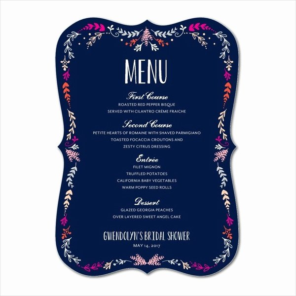 Bridal Shower Menu Template Unique 5 Bridal Shower Menu Templates Free Psd Vector Eps Ai