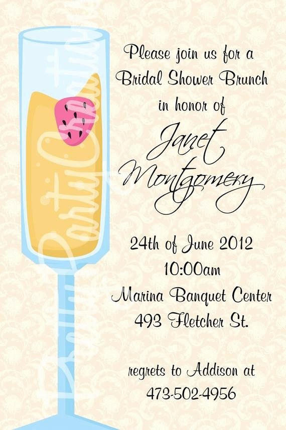 Bridal Shower Menu Template Unique Mimosa Bridal Shower Brunch Invitation by Prettypartycreations