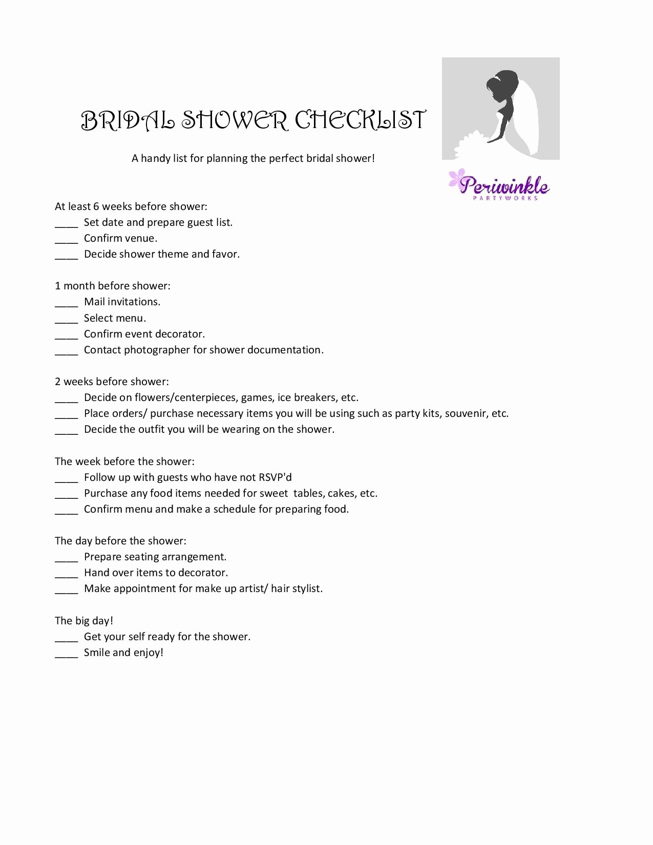 Bridal Shower Menu Template Unique Party Planning Checklist Best Image