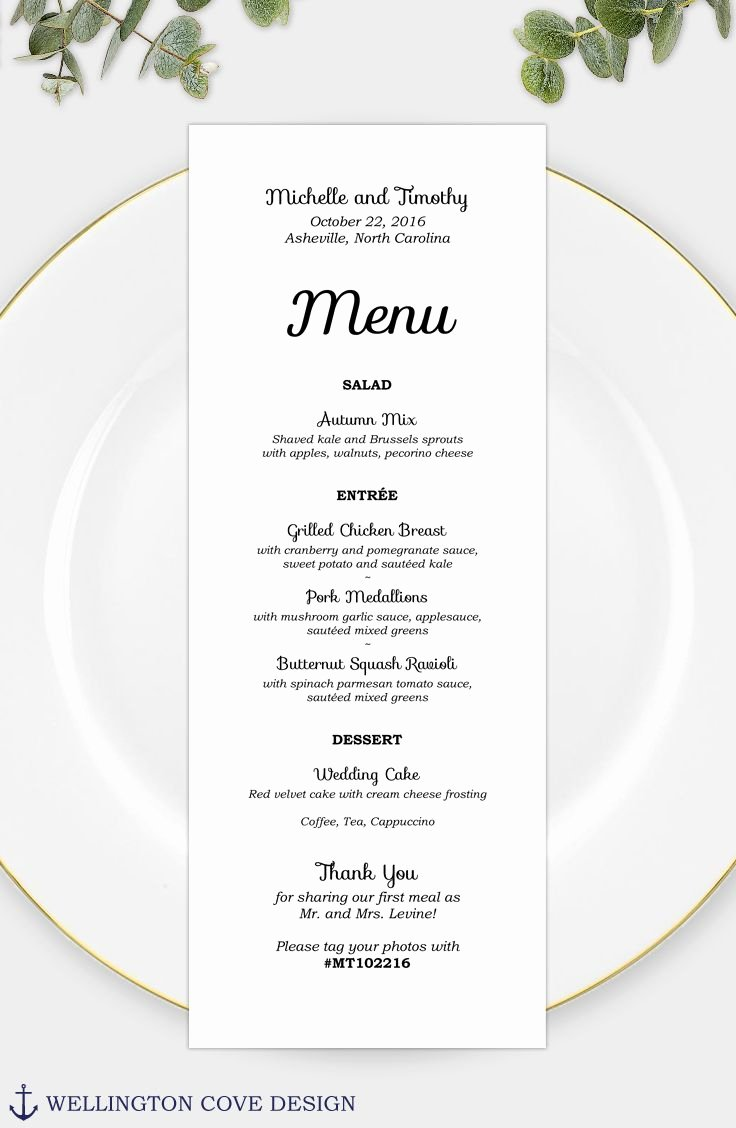 Bridal Shower Menu Template Unique Wedding Menu Template for Microsoft Word • Printable