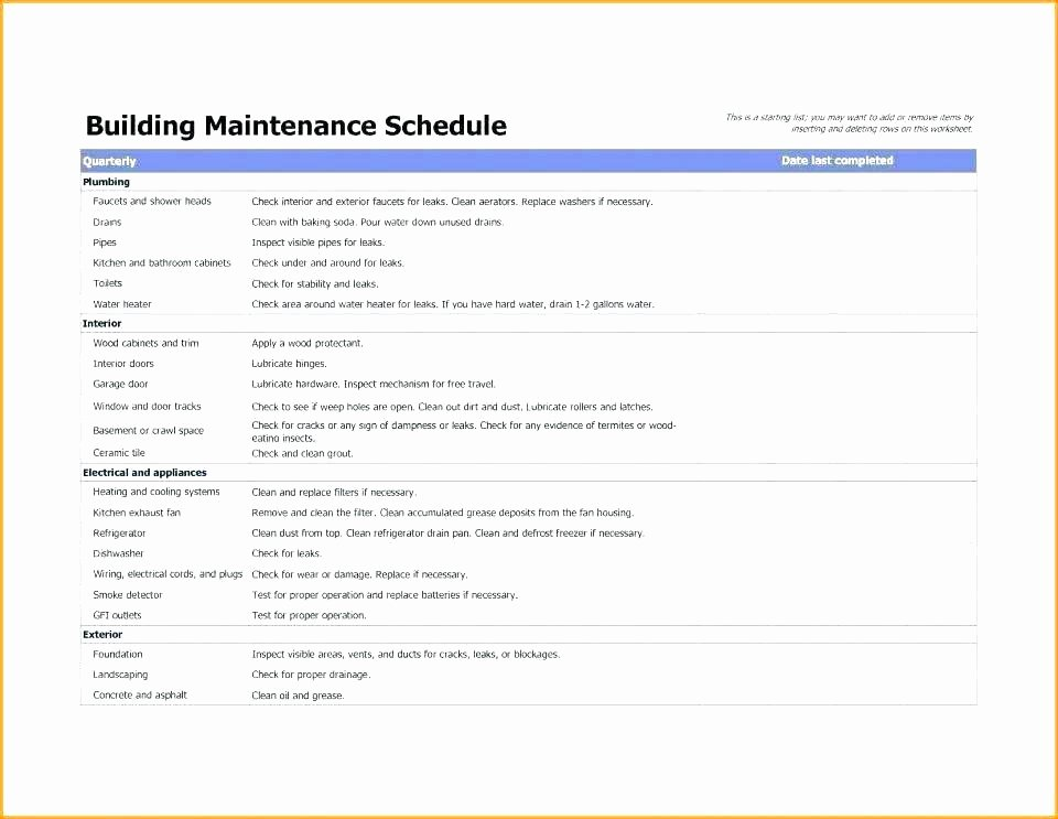 Building Maintenance Log Template Awesome Air Pressor Maintenance Schedule Facility Maintenance