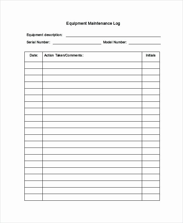 Building Maintenance Log Template Beautiful Editable Free Equipment Maintenance Log Book Template