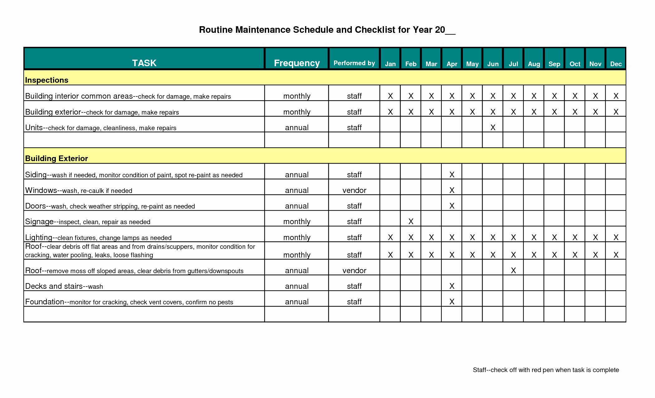 Building Maintenance Log Template Best Of Building Maintenance Schedule Excel Template