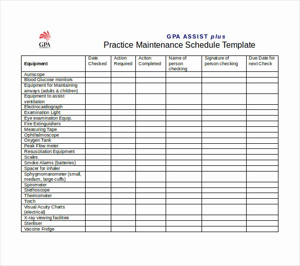 Building Maintenance Log Template Best Of Maintenance Schedule Template