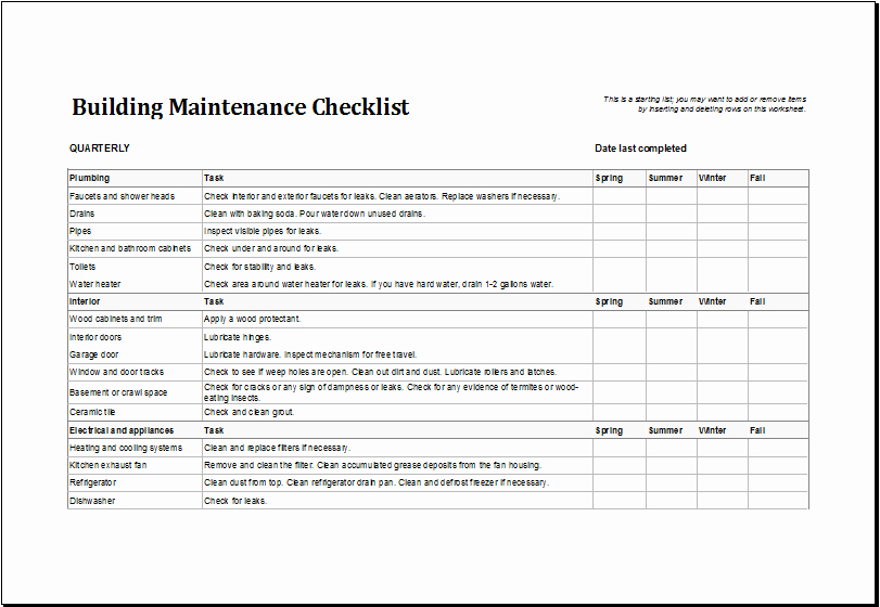 Building Maintenance Log Template Elegant 7 Facility Maintenance Checklist Templates Excel Templates