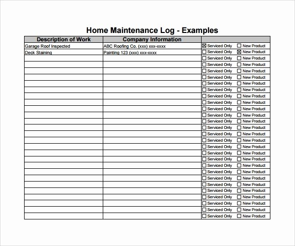 Building Maintenance Log Template Fresh 10 Maintenance Log Templates to Download