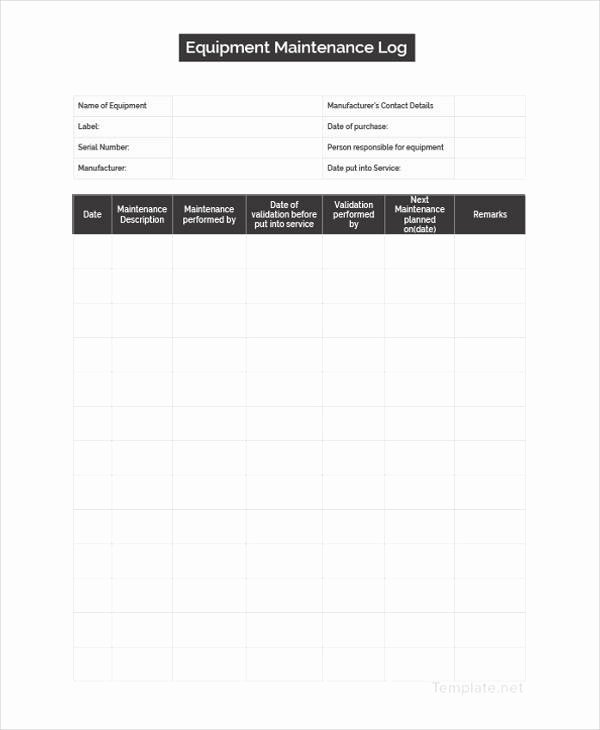 Building Maintenance Log Template Luxury Maintenance Log Template 11 Free Word Excel Pdf