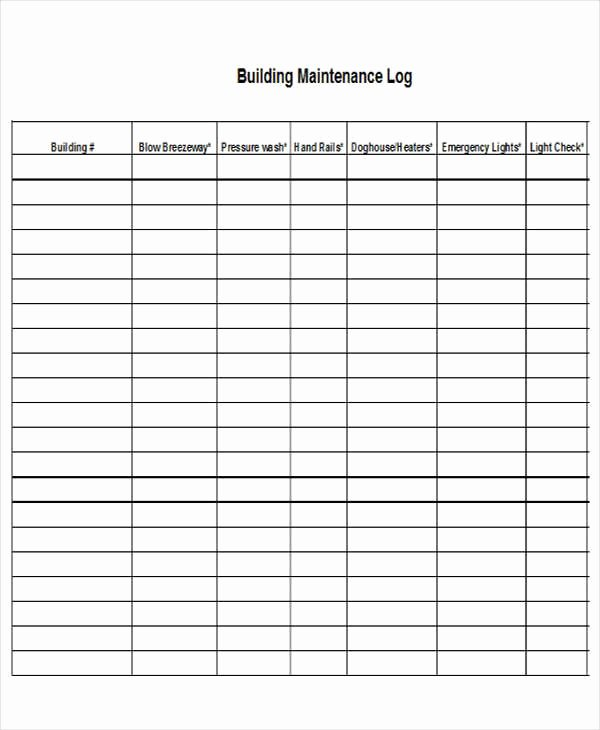 Building Maintenance Log Template Unique 27 Log Templates In Excel