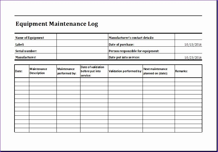 Building Maintenance Log Template Unique 7 Building Maintenance Checklist Exceltemplates