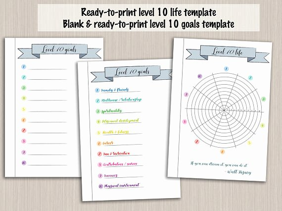 Bullet Journal Excel Template Elegant Bullet Journal Printable Level 10 Life Planner Template