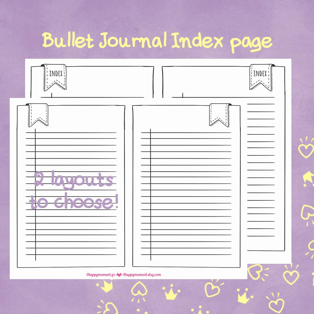 printable bullet journal index and key