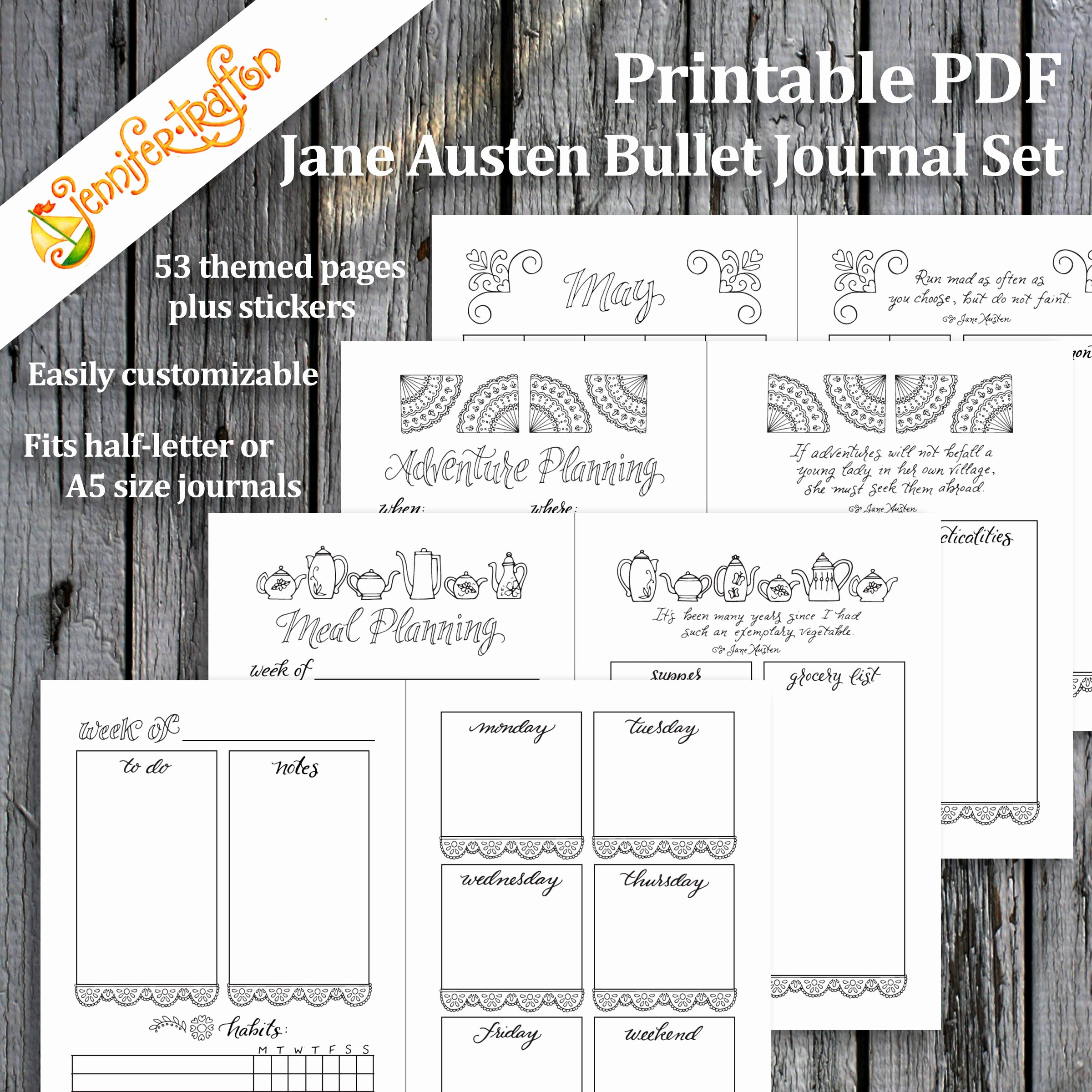 Bullet Journal Pdf Template Fresh Jane Austen Bullet Journal Planner Set Instant Download