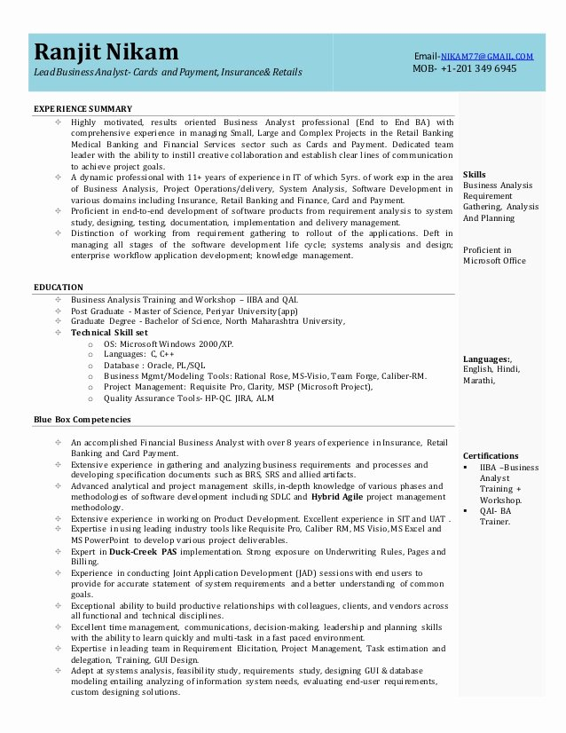 Business Analyst Resume Template Awesome Business Analyst Resume