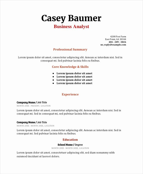 Business Analyst Resume Template Beautiful 8 Business Analyst Resumes Free Sample Example format