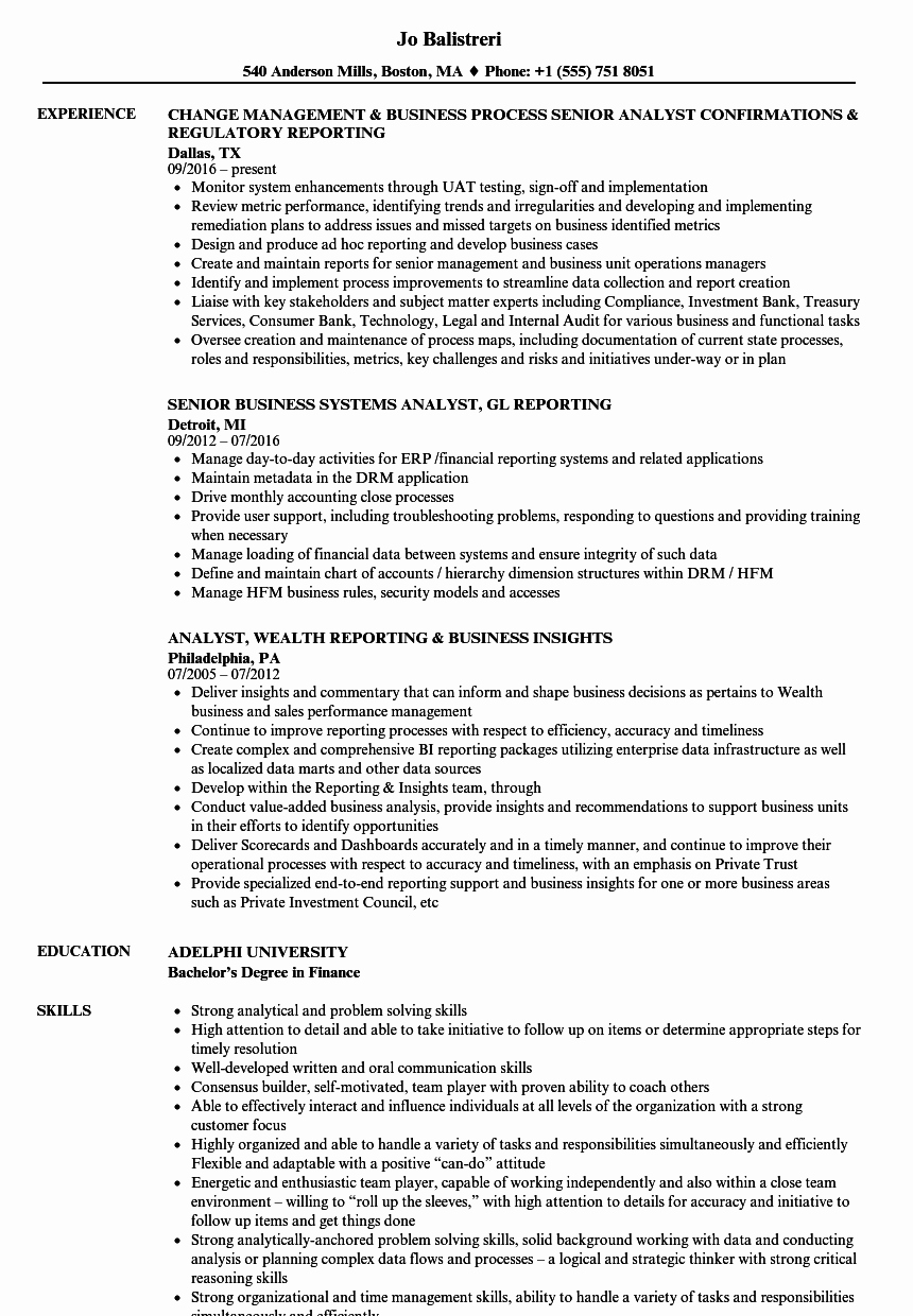 Business Analyst Resume Template Beautiful Business Analyst & Reporting Analyst Resume Samples