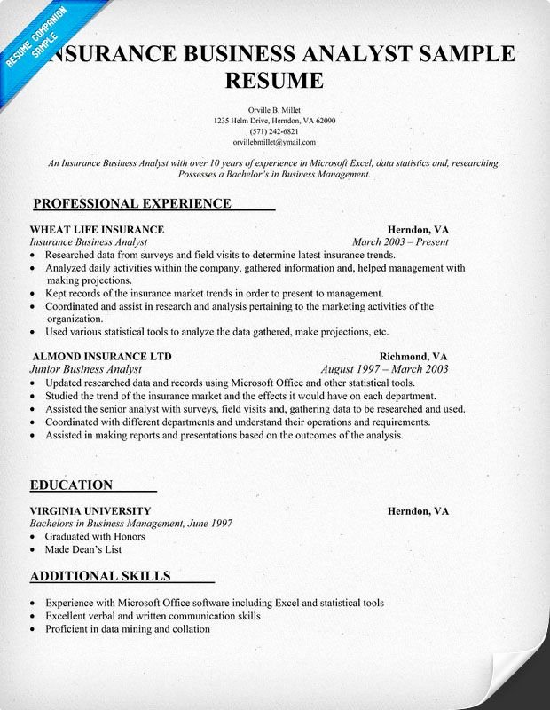 Business Analyst Resume Template Best Of Insurance Business Analyst Resume Sample