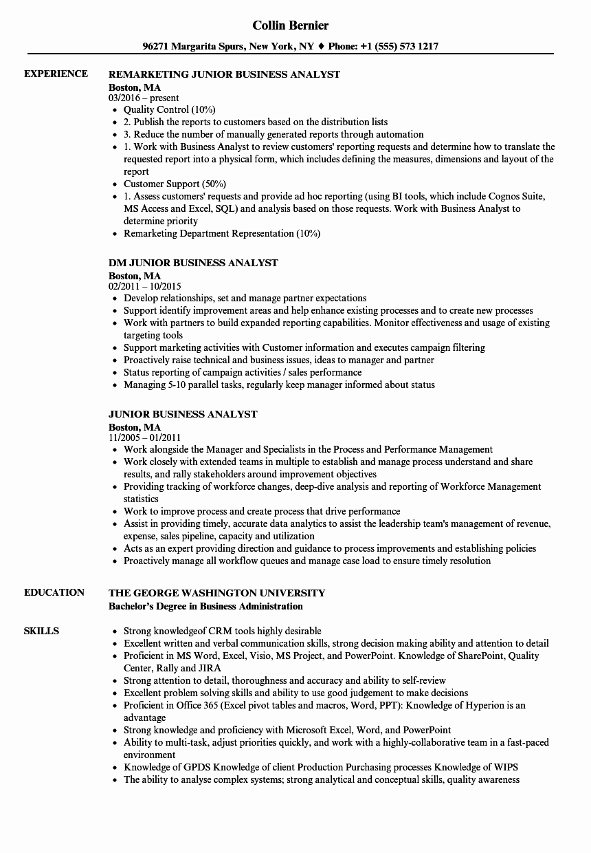 Business Analyst Resume Template Best Of Junior Business Analyst Resume Samples