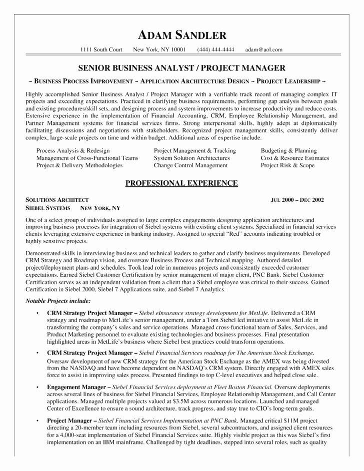 Business Analyst Resume Template Fresh Best Business Analyst Resume Example Template