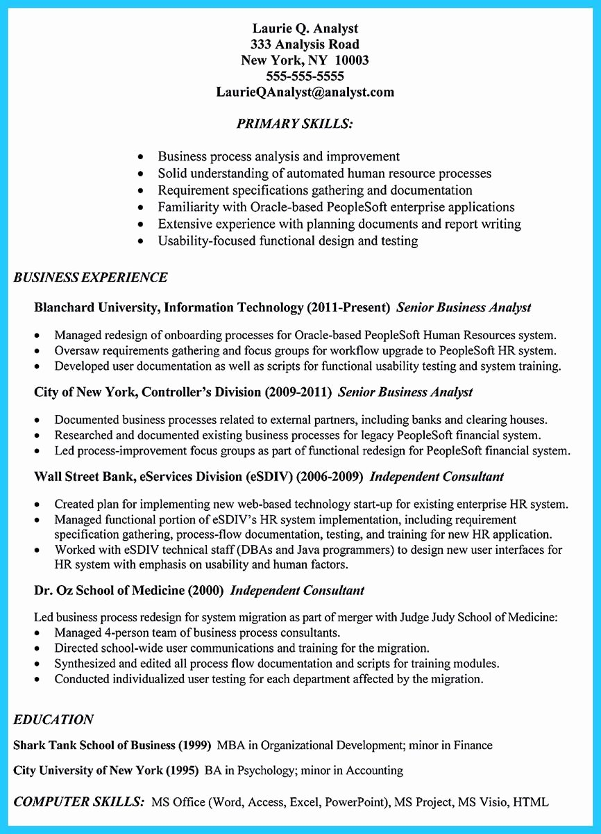 Business Analyst Resume Template Inspirational Create Your astonishing Business Analyst Resume and Gain