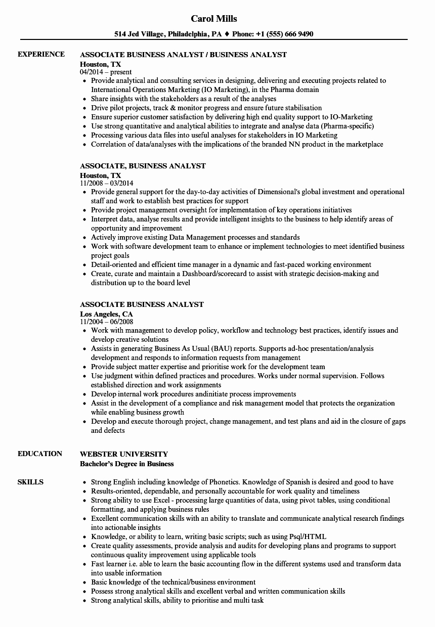 Business Analyst Resume Template New associate Business Analyst Resume Samples