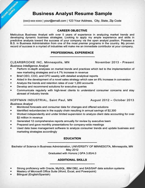 Business Analyst Resume Template New Business Analyst Resume Sample & Writing Tips