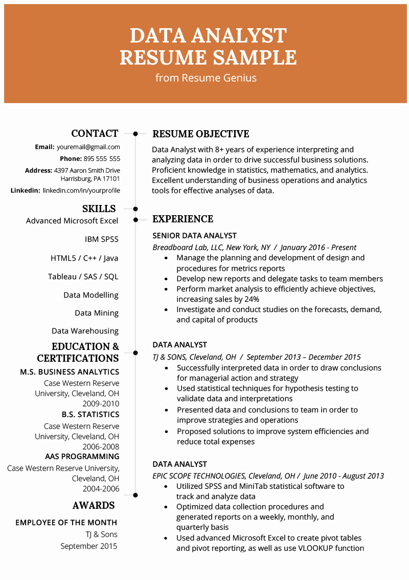 Business Analyst Resume Template New Data Analyst Resume Example & Writing Guide