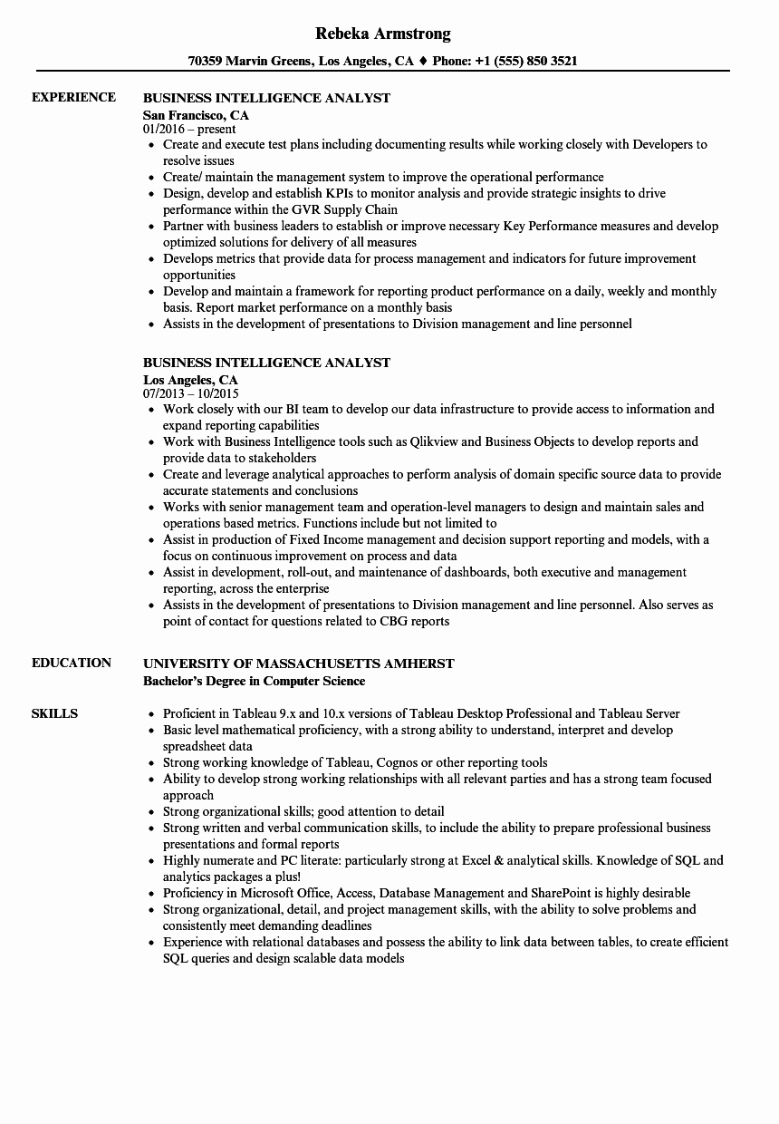 Business Analyst Resume Template Unique Business Intelligence Analyst Resume Samples