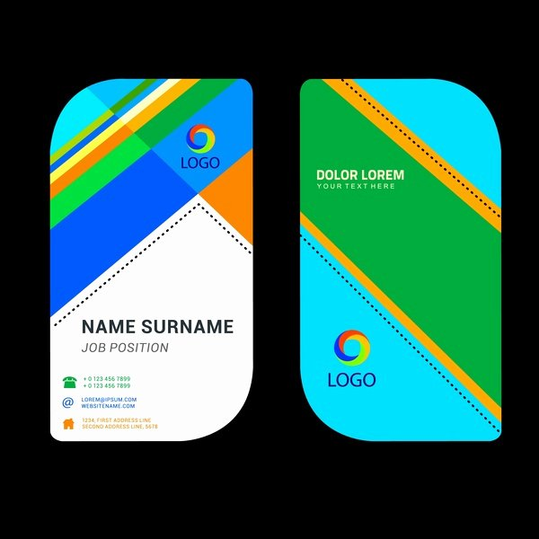 Business Card Ai Template Awesome Business Name Card Template with Rounded Abstract Design