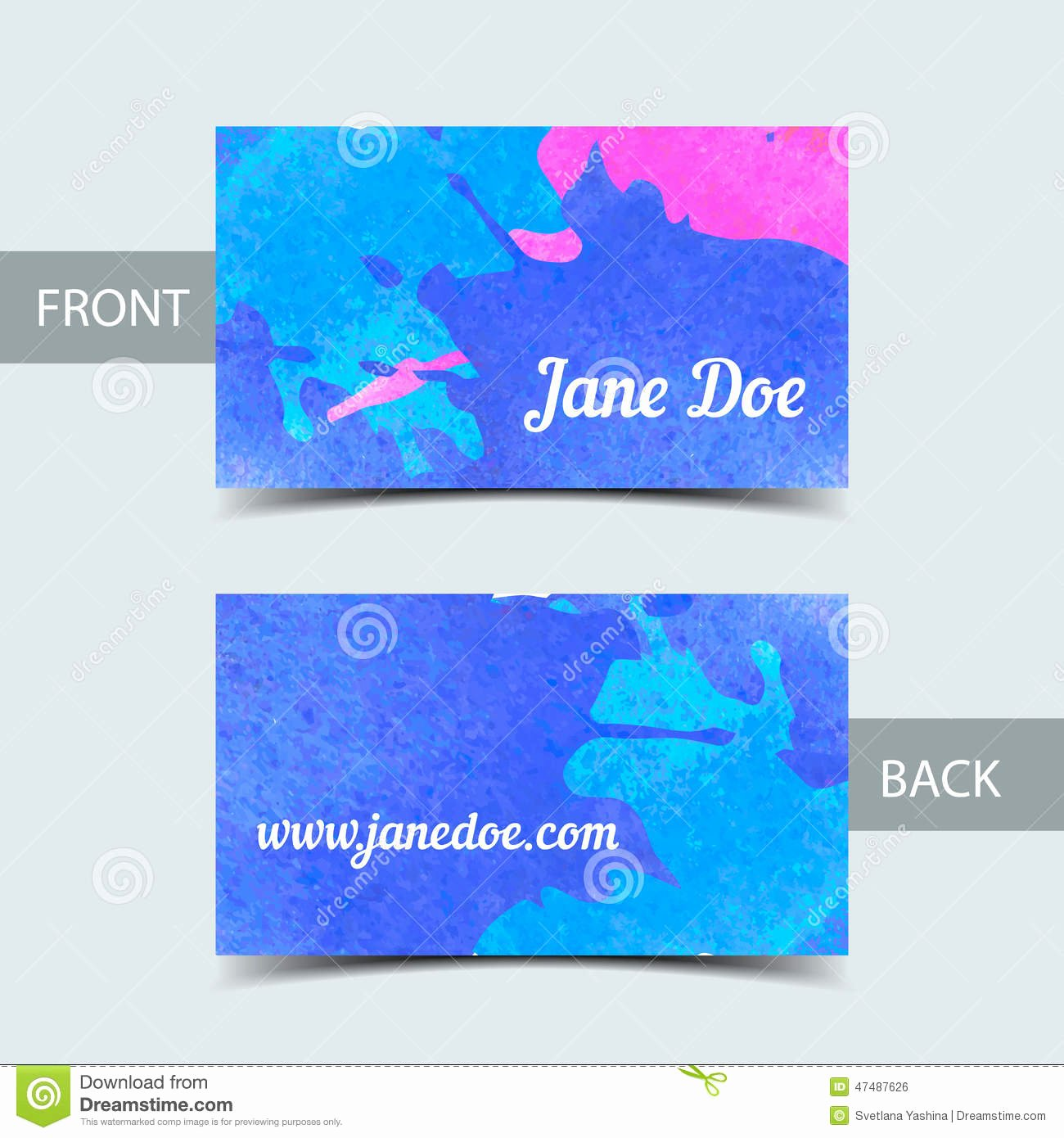 Business Card Ai Template New Business Card Template for Watrcolor Illustrator Stock