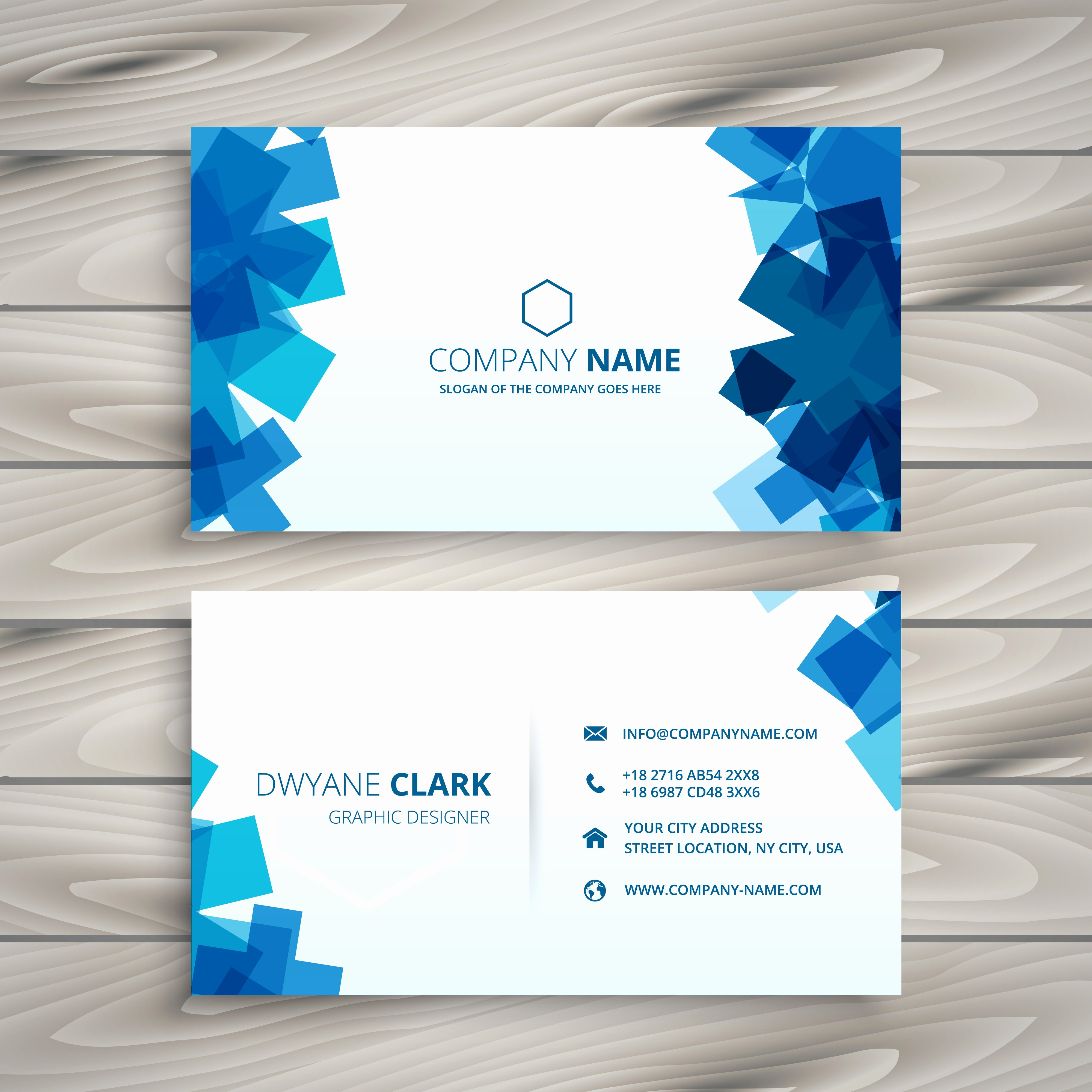 Business Card Template Vector Awesome Abstract Blue Shapes Business Card Template Vector Design