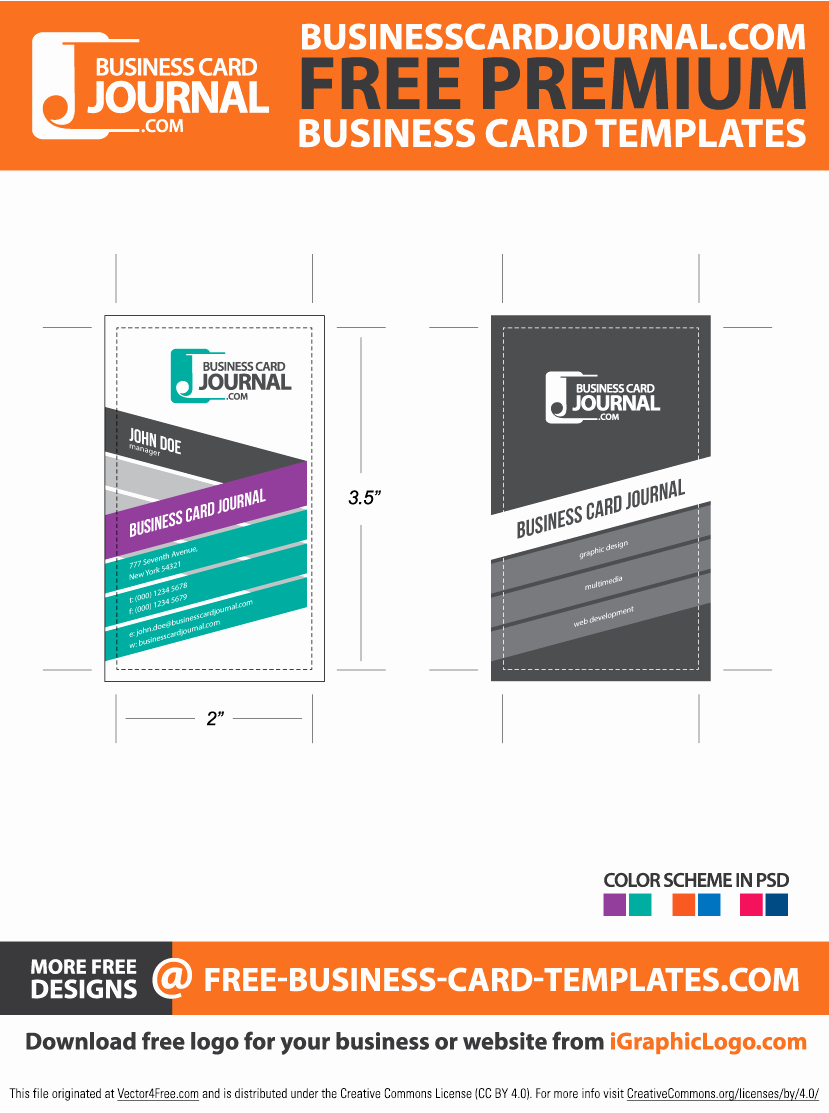 Business Card Template Vector Awesome Stylish & Creative Vertical Business Card Template Free