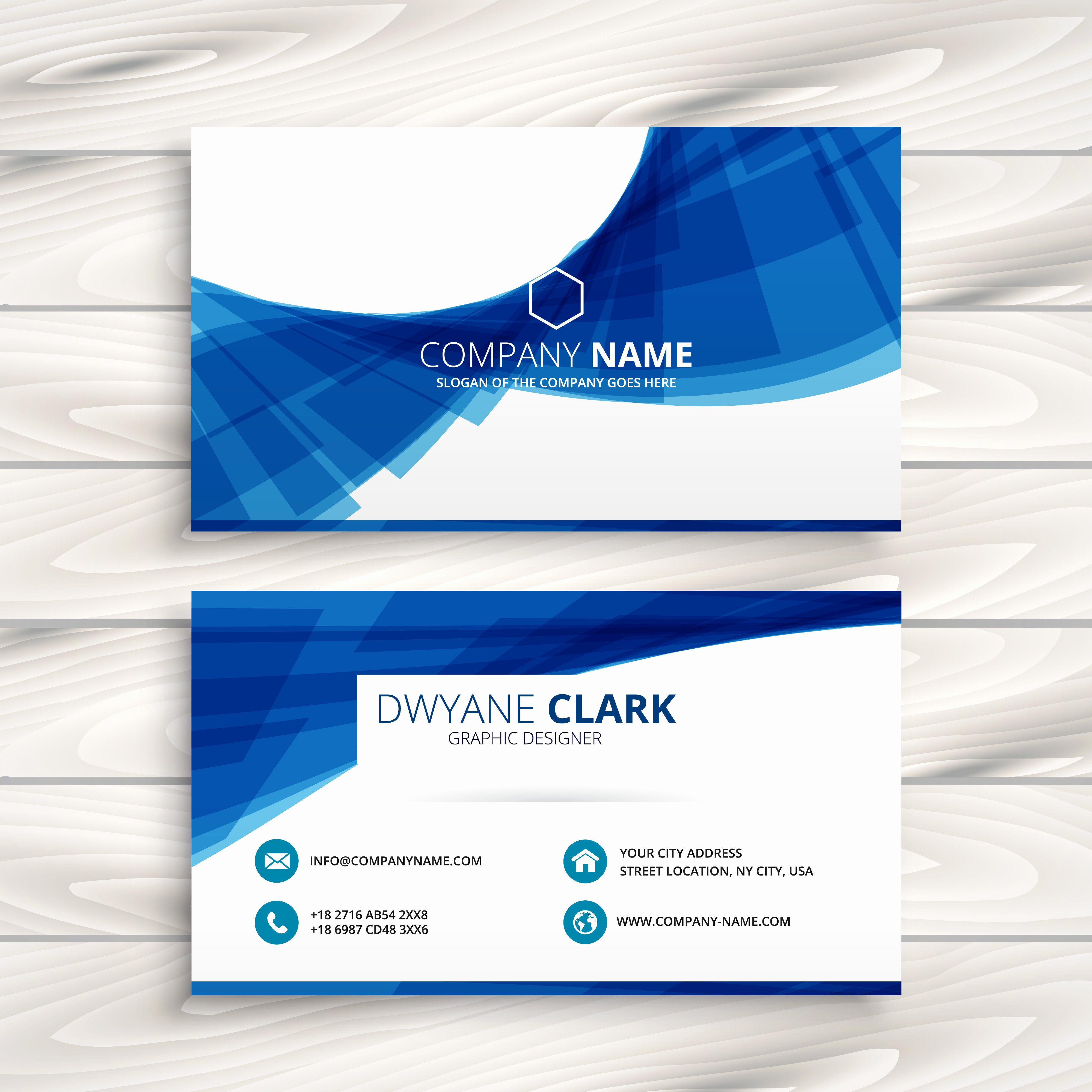 Business Card Template Vector Lovely Blue Wave Business Card Template Vector Design