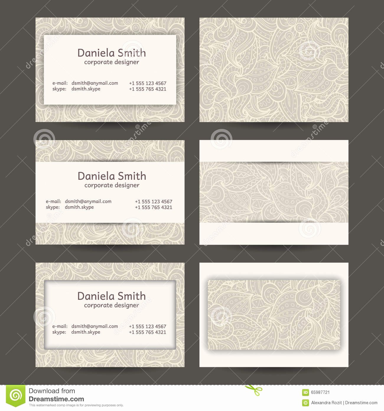 Business Card Template Vector Luxury Vintage Business Cards Templates Stock Vector Image