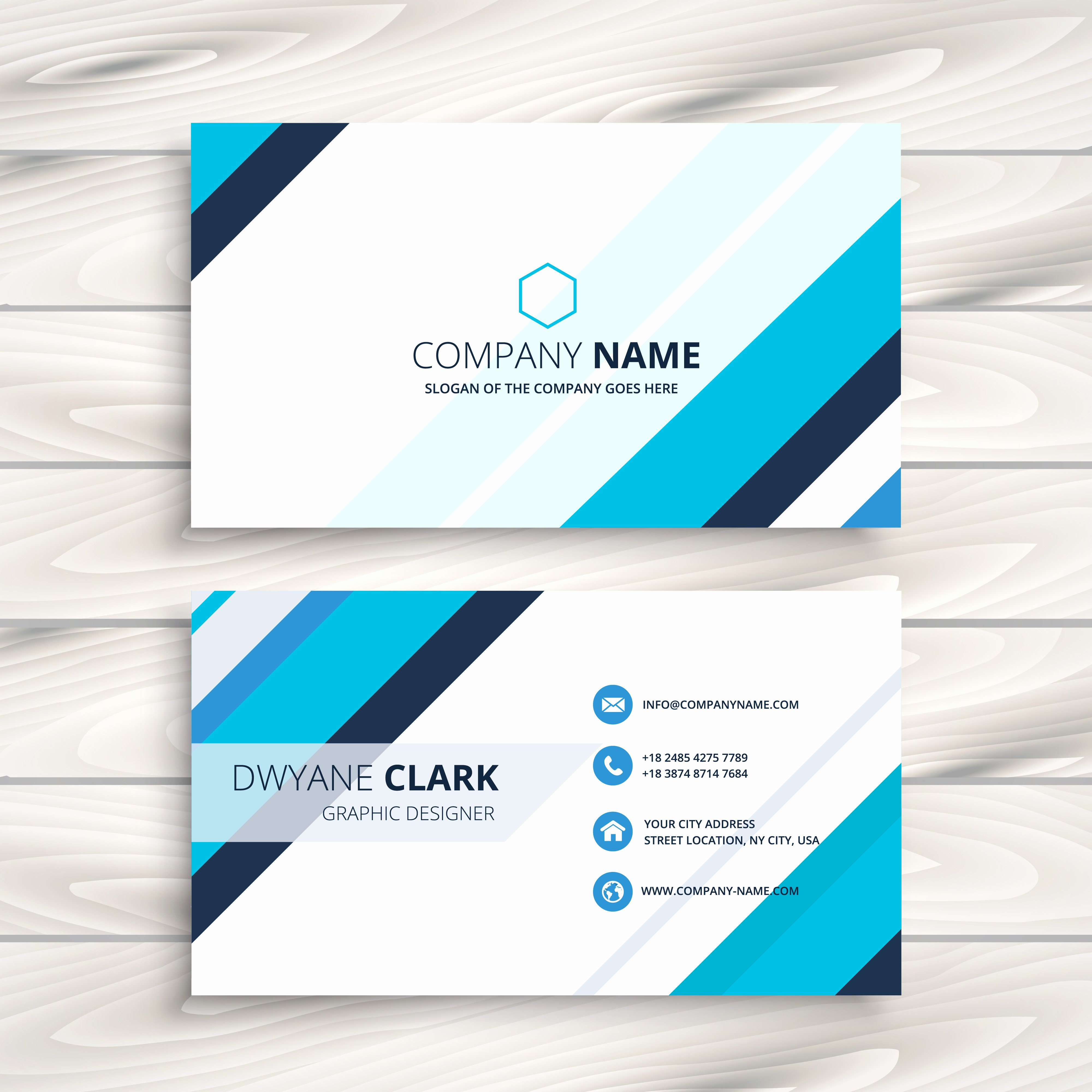 Business Card Template Vector Unique Modern Business Card with Blue Stripes Template Vector