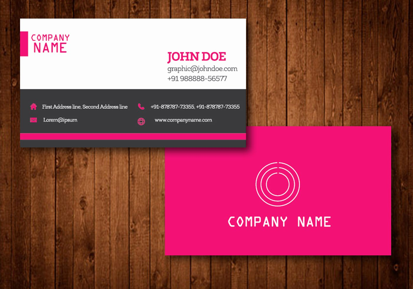 Business Card Template Vector Unique Pink Creative Business Card Vector Template Download