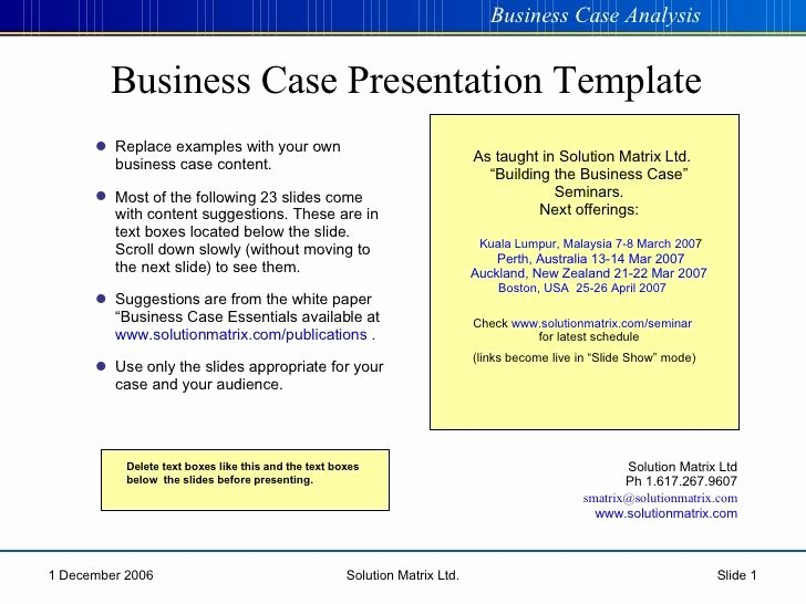 Business Case Analysis Template New Business Case Presentation Cba Pinterest