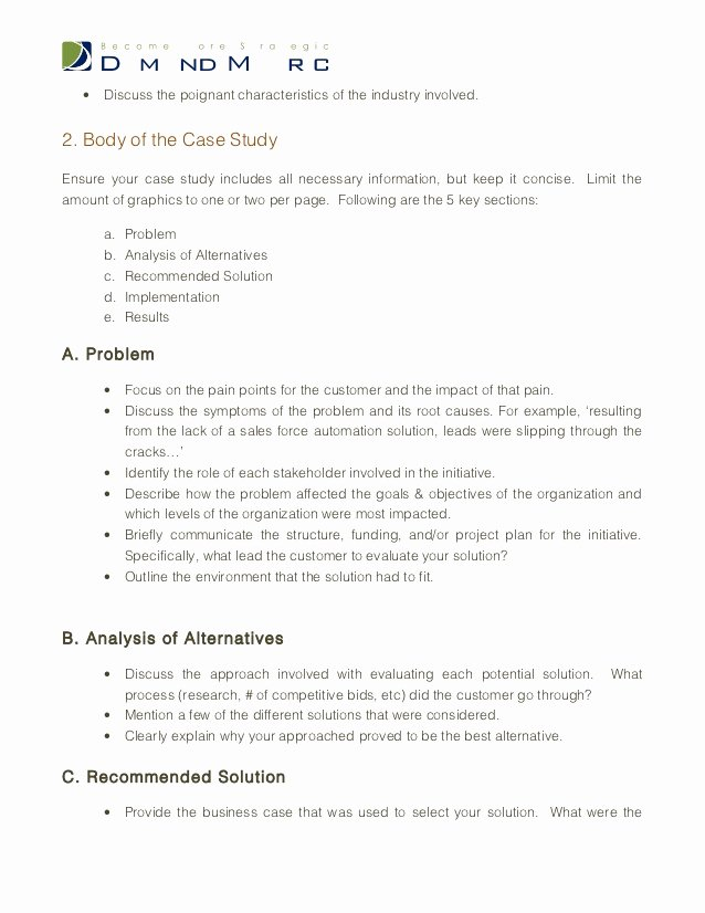 Business Case Analysis Template Unique Case Study Template