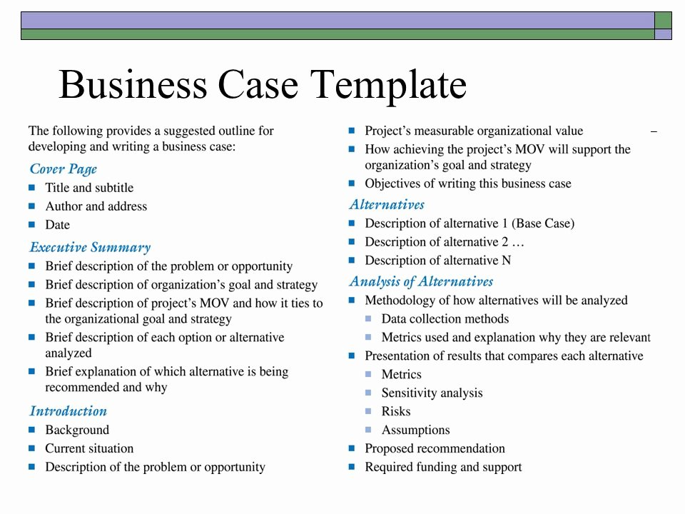 Business Case Template Powerpoint Fresh Business Case Template