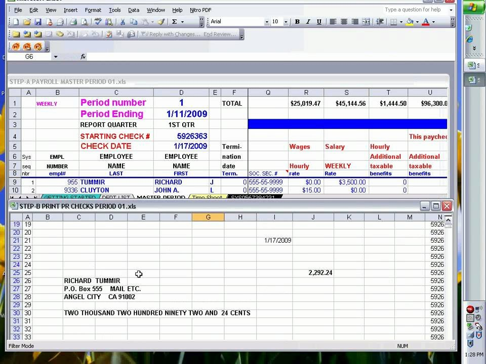 Business Check Template Excel Awesome Payroll Checks Using Excel Ready to Print
