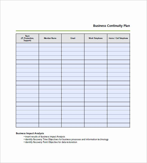 Business Contingency Plan Template Elegant Business Continuity Plan Template – 12 Free Word Excel