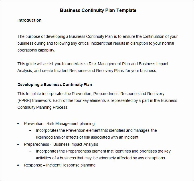Business Contingency Plan Template New Business Continuity Plan Template 9 Free Word Pdf