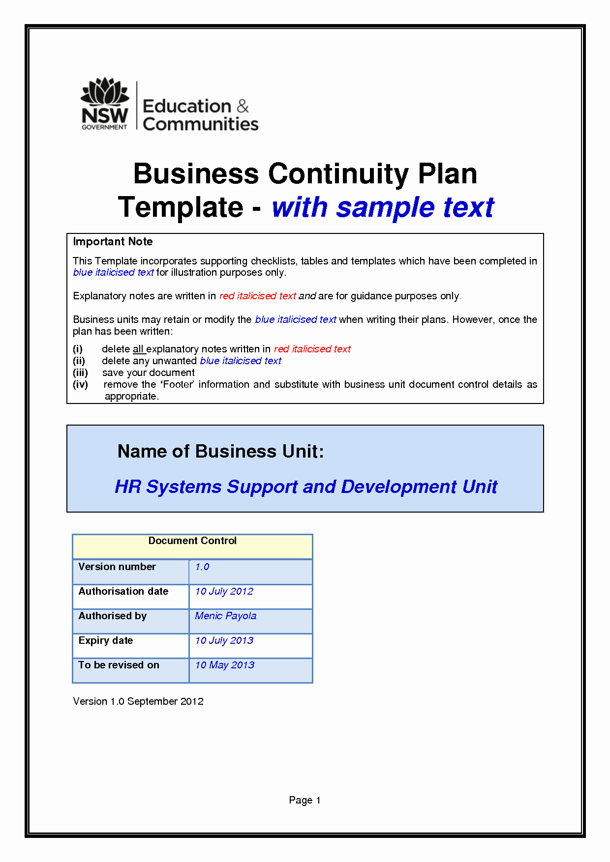 Business Contingency Plan Template New Business Continuity Plan Template