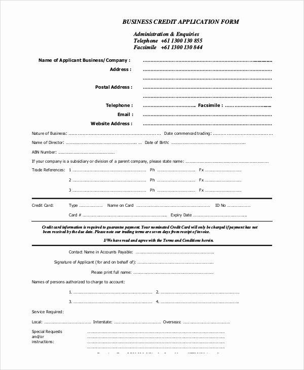 Business Credit Application Template Elegant 10 Sample Credit Applications
