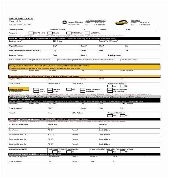 Business Credit Application Template Elegant 15 Credit Application Templates Free Sample Example