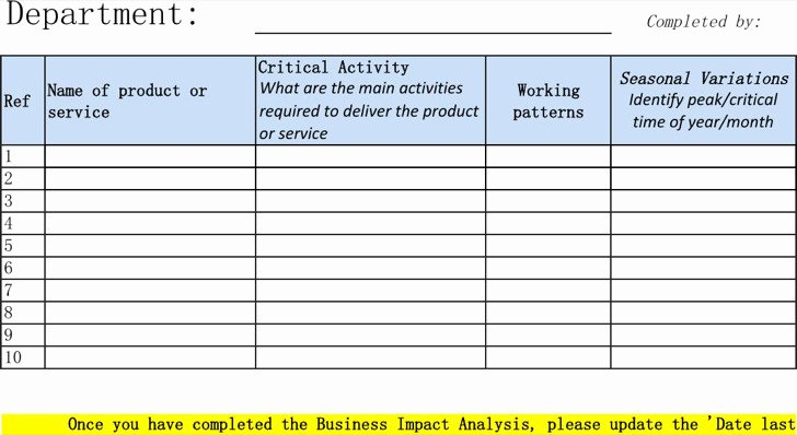 Business Impact Analysis Template Best Of 6 Excel Business Templates Free Download