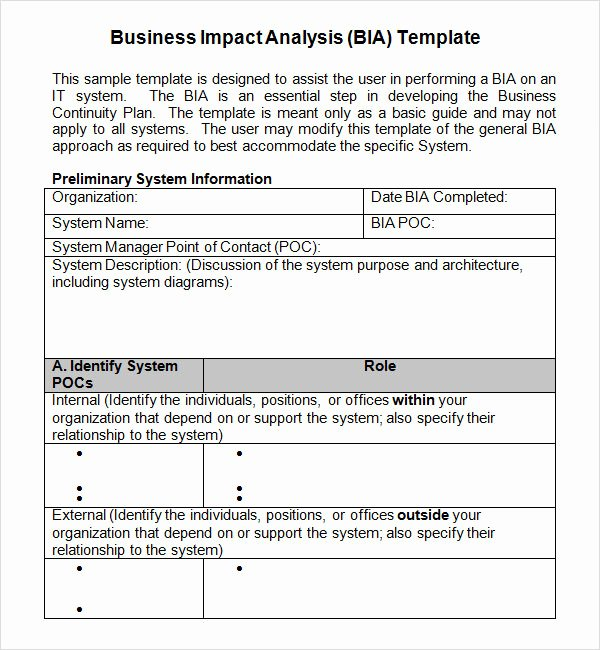 Business Impact Analysis Template Best Of Business Impact Analysis Template
